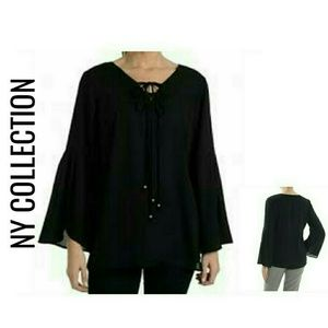 Black Twin Tie Bell Sleeve Blouse NWT $69 S